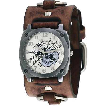 Nemesis BFRB931S Men's Web of Skulls Wide Brown Leather Cuff Band (Skull Cuff Watch)