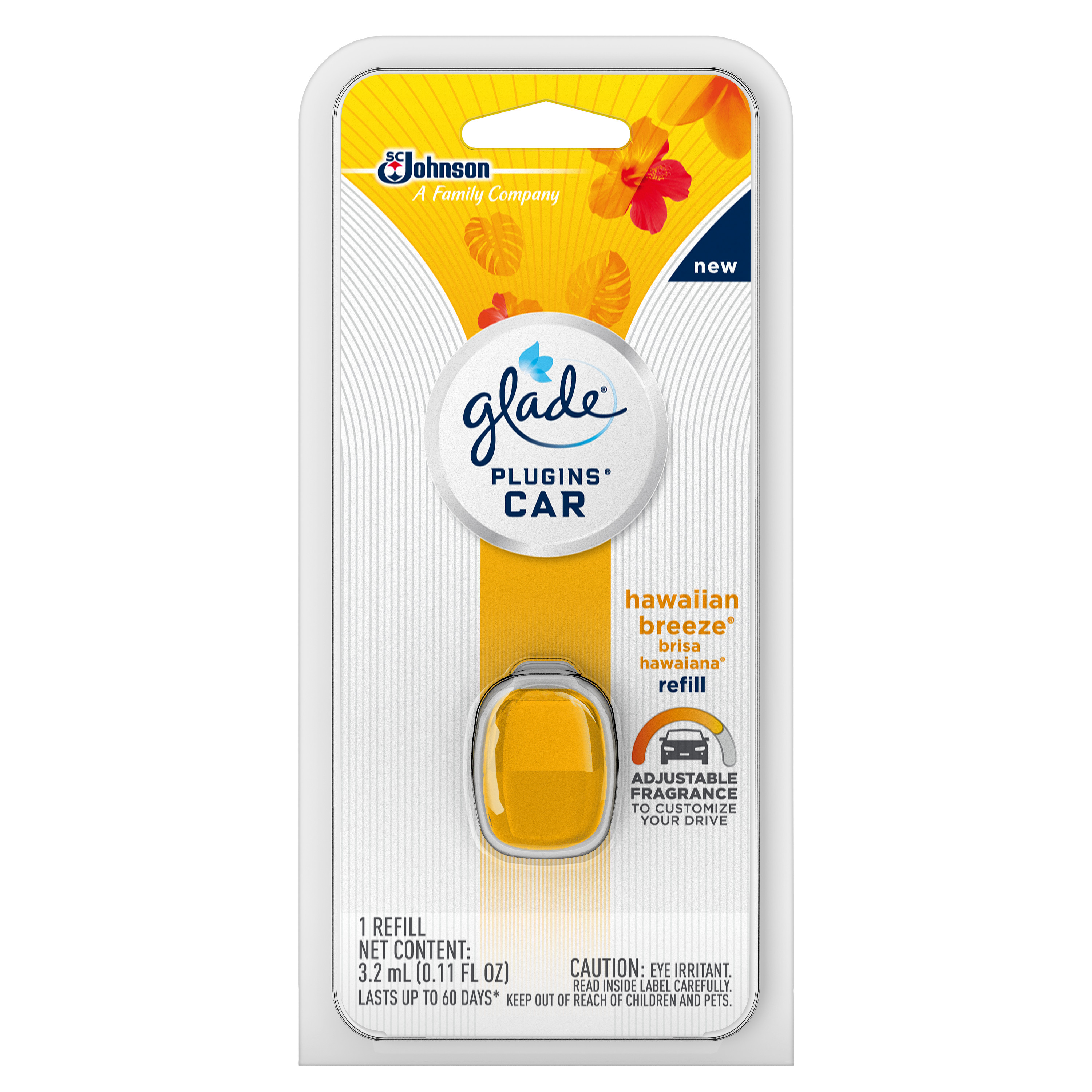 (5 Pack) Glade PlugIns Car Air Freshener Refill, Hawaiian Breeze, 0.11 Fluid Ounces