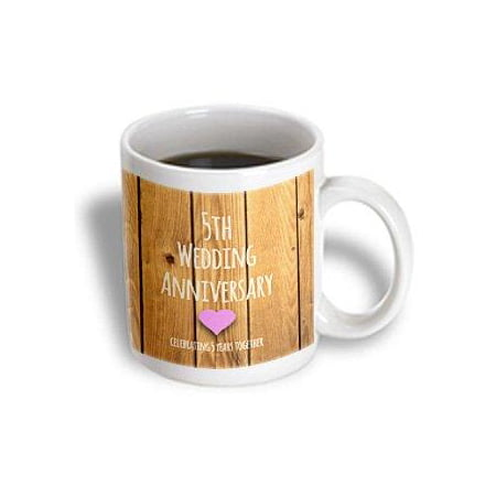 3dRose 5th Wedding Anniversary gift - Wood celebrating 5 years together - fifth anniversaries five yrs, Ceramic Mug, 11-ounce ()