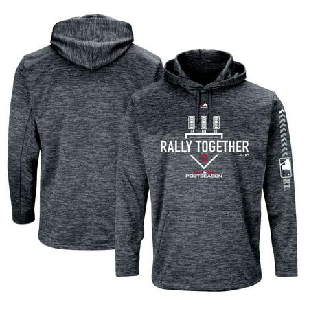 Cleveland Indians Majestic 2018 Postseason Authentic Collection Streak Fleece Pullover Hoodie - Gray
