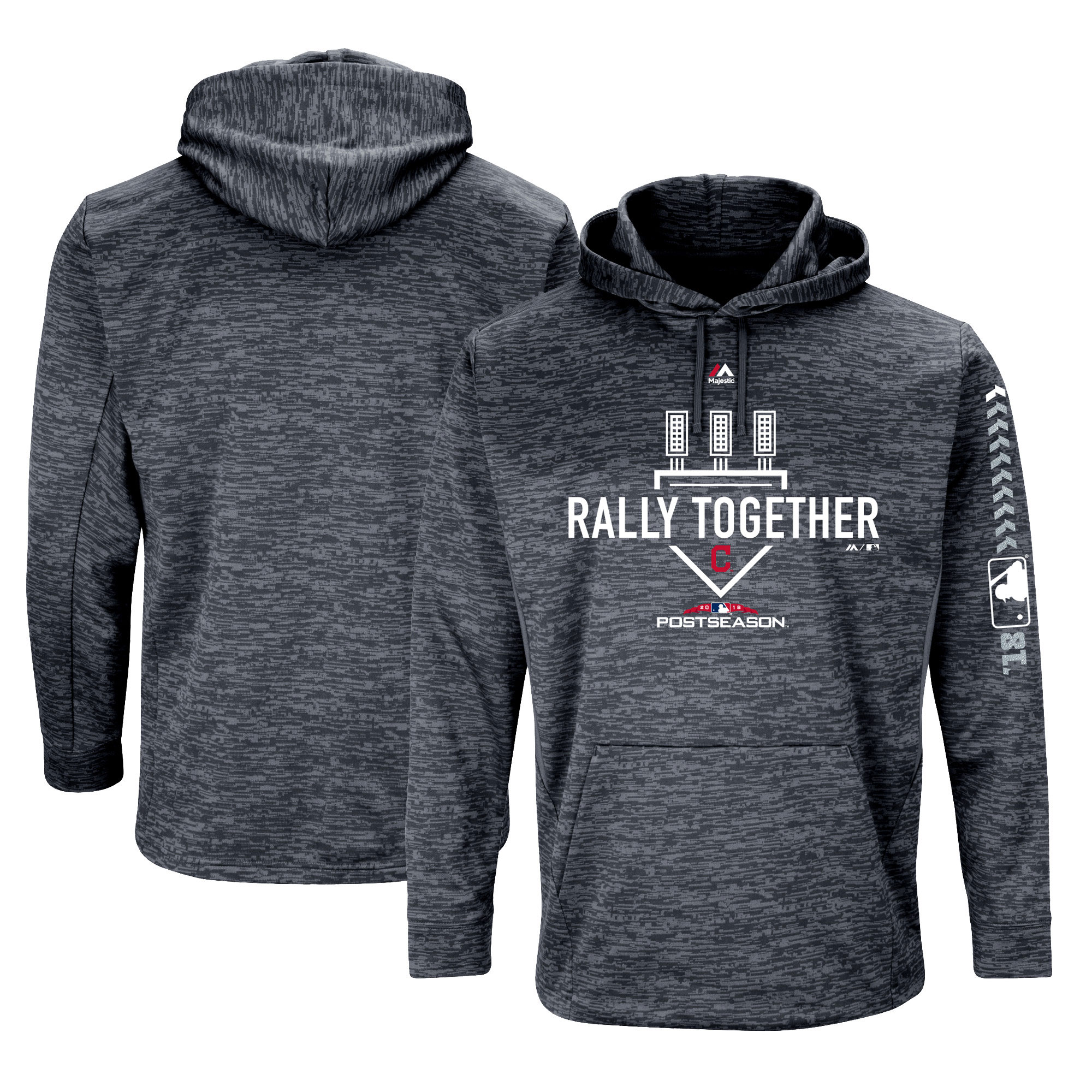 Cleveland Indians Majestic 2018 Postseason Authentic Collection Streak Fleece Pullover Hoodie - Gray