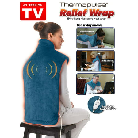 Thermapulse Relief Wrap, Heat and Massage Therapy for Shoulders and Back, Blue, As Seen on TV