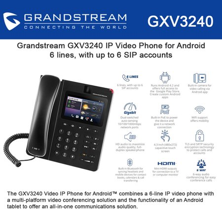 Grandstream GXV3240 Multimedia IP Phone, Android, WiFi, BT, HDMI, PoE, USB,  SD