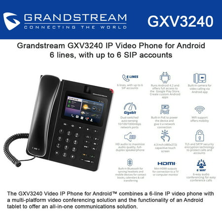 Grandstream GXV3240 Multimedia IP Phone, Android, WiFi, BT, HDMI, PoE, USB,