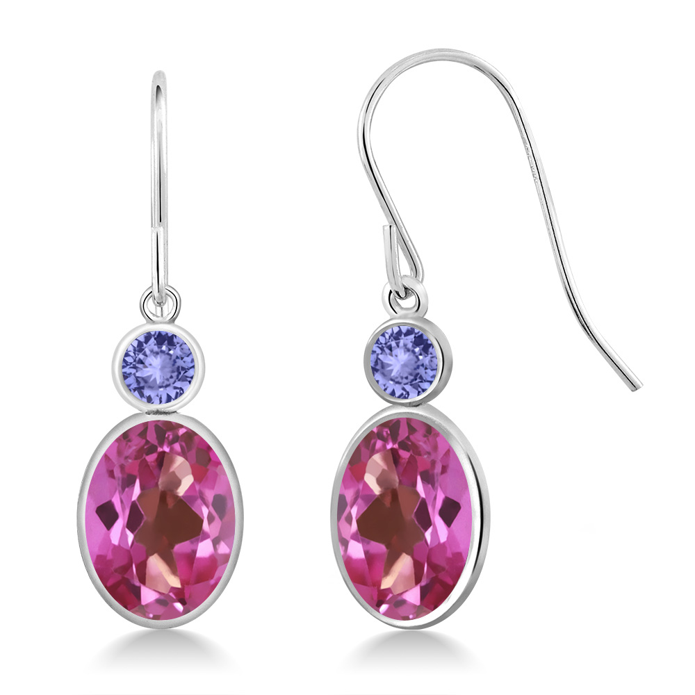 3.24 Ct Oval Pink Mystic Topaz Blue Tanzanite 14K White Gold Earrings by