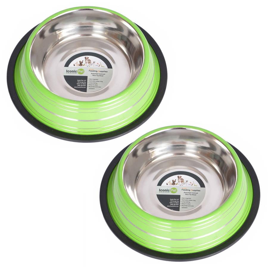 2-Pack Color Splash Stripe Non-Skid Pet Bowl, For Dog or Cat, Green, 8 Oz, 1 Cup