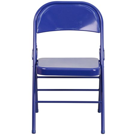 Flash Furniture 2 Pk. HERCULES COLORBURST Series Cobalt Blue Triple Braced & Double Hinged Metal Folding (Cobalt Blue Flash)