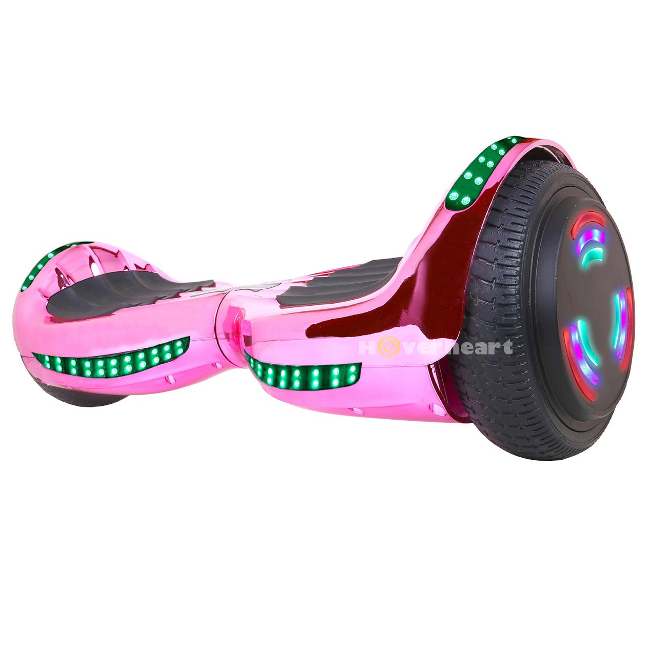 """Hoverboard Two-Wheel Self Balancing Electric Scooter 6.5"""" UL 2272 Certified, New Chrome Pink Coating with Bluetooth Speaker and LED Light"""