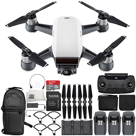 DJI Spark Portable Mini Drone Quadcopter Fly More Combo Ultimate Backpack Bundle (Alpine White)