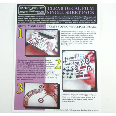 Clear Inkjet Decal Sheet Single Pack Bare Metal Foil