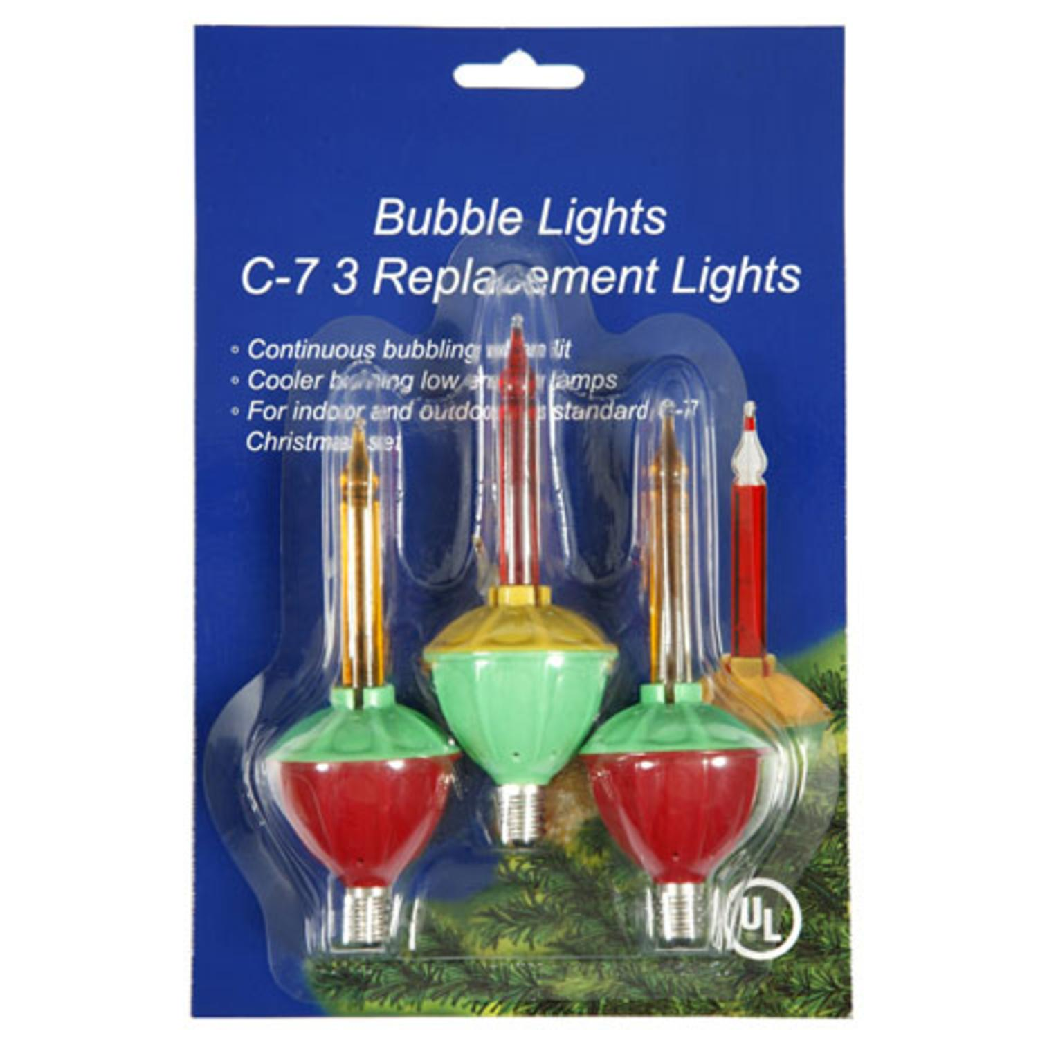 Pack of 3 Multi-Color C7 Bubble Light Christmas Replacement Bulbs