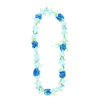 Hawaii Luau Party Artificial Fabric Tuberose Carnation Lei in White Tuberose and Blue Carnation - Carnation Leis
