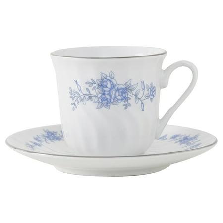 Royal Rose Porcelain Tea Cup and Saucer - Set of 6 Edge Tea Saucer
