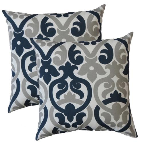 FHT Premiere Home Indoor/Outdoor Alex Oxford Grey 17-inch Throw Pillow - Set of 2