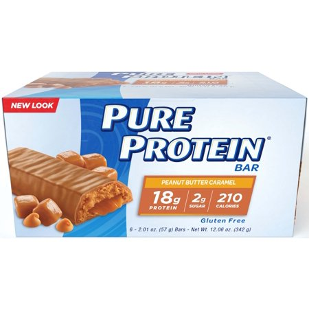 Body Shake Chocolate Peanut Butter - Pure Protein Bar, Peanut Butter Caramel, 18g Protein, 6 Ct