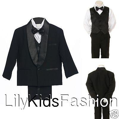 Baby Toddler Boy Classic Wedding Formal Bow Tie Vest Set Tuxedo black Suit S-18
