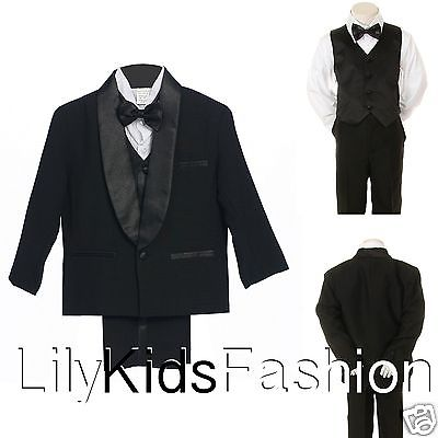 Baby Toddler Boy Classic Wedding Formal Bow Tie Vest Set Tuxedo black Suit S-18
