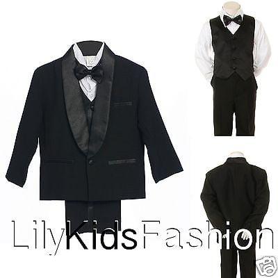 Baby Toddler Boy Classic Wedding Formal Bow Tie Vest Set Tuxedo black Suit S-18 (Black Vest And Bow Tie For Boys)