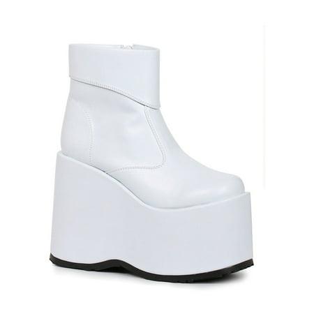 Mens White Frank Platform 60s Ankle Boots
