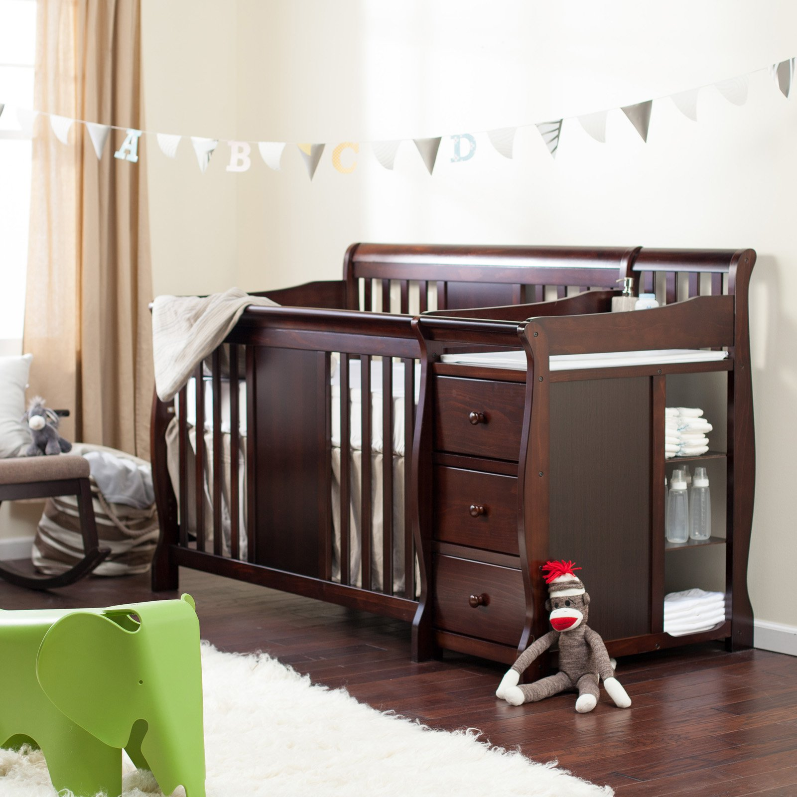 Storkcraft Calabria 4 in 1 Convertible Crib N Changer Espresso