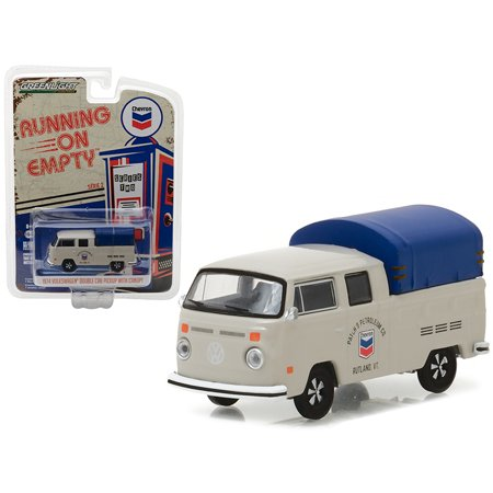 1974 Volkswagen T2 Double Cab Pickup with Canopy Chevron 1/64 Diecast Model Car  by Greenlight (Standard Cab Models)