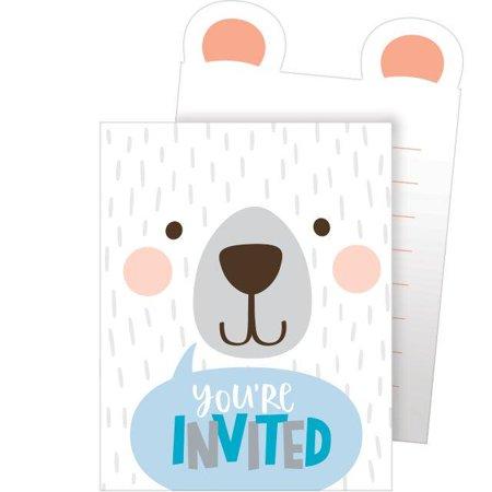 Creative Converting Birthday Bear Invitation Pop-Up, You're Invited, 8 ct (Pooh Bear Birthday Invites)