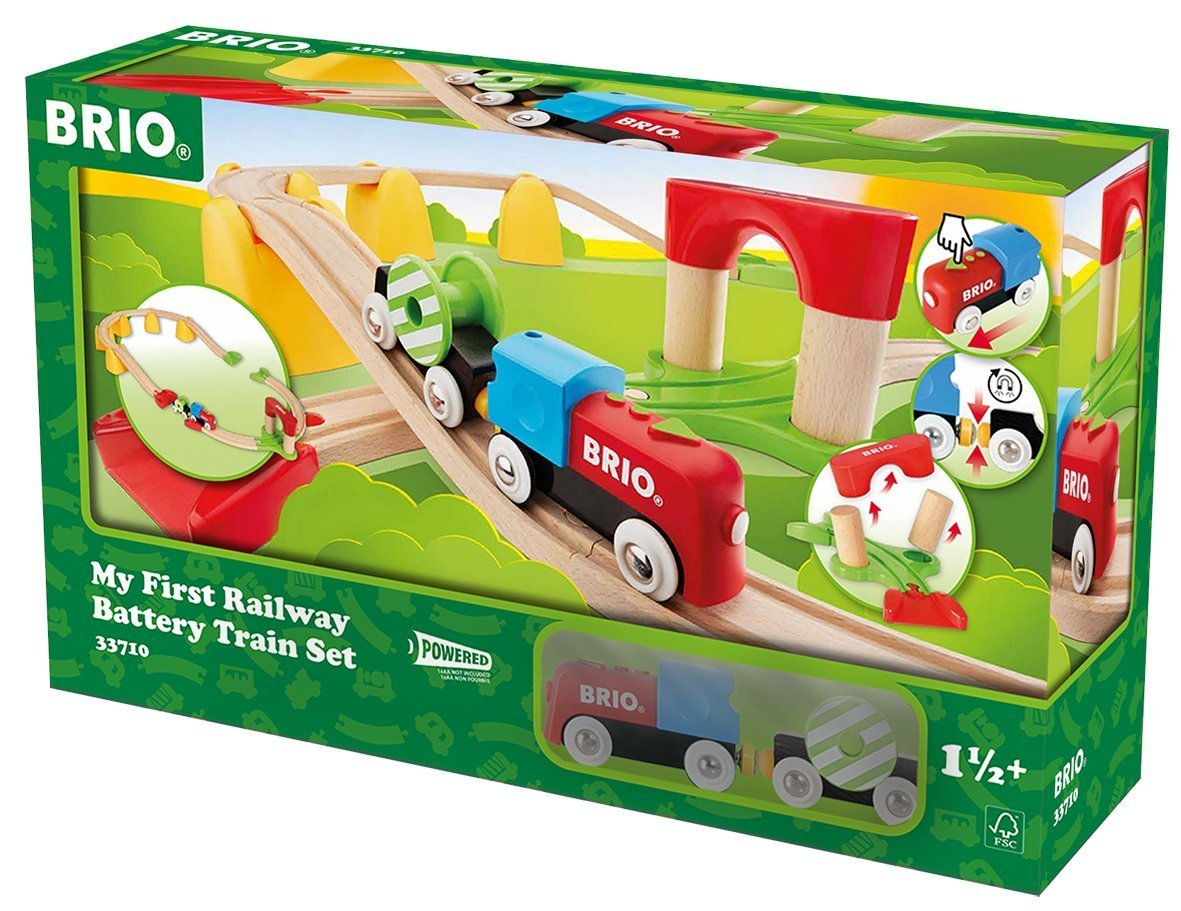 BRIO My First Railway: Battery Train Set with Wooden Tracks Toddler Toy by Brio
