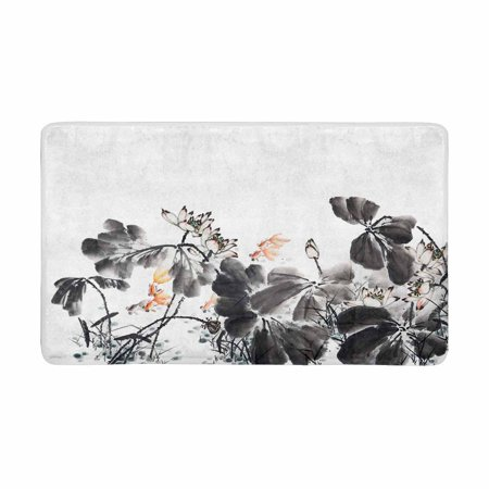 MKHERT Abstract Lotus Traditional Oriental Chinese Ink and Wash Painting Doormat Rug Home Decor Floor Mat Bath Mat 30x18 inch