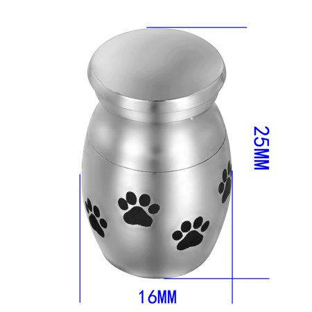 Mini Size Dog Paw Print Cremation Urn Pet Ashes Keepsake Memorial Urn 1x0.6''