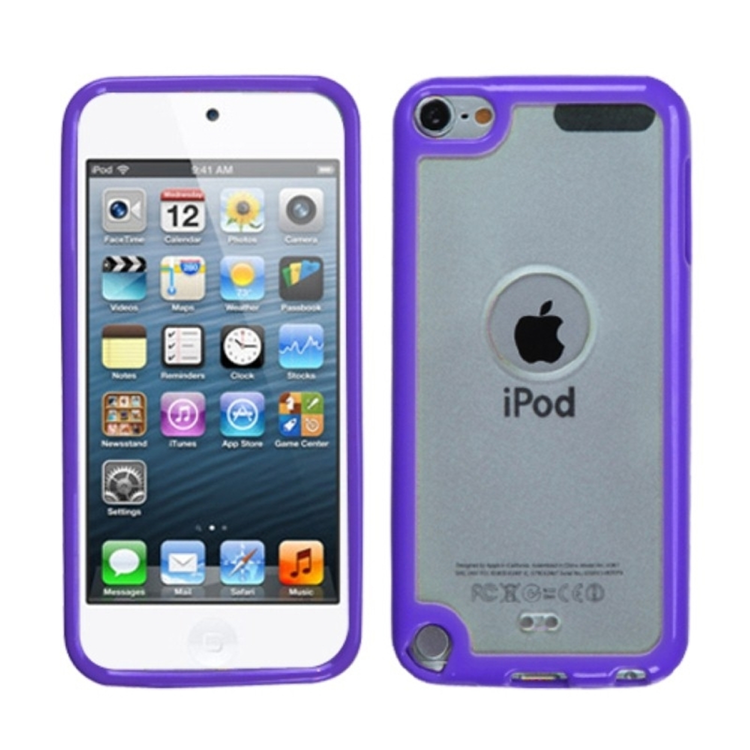 Insten Transparent Clear/Solid Purple Gummy Cover Case for iPod touch (5 5G 5th 6 6G 6th Gen)