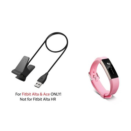 Fitbit Alta / Ace Band by Zodaca Replacement Band Wrist Band and Fitbit Alta / Ace Charger Cable Charging Cord Accessory Bundle for Fitbit Alta / Ace - Light Pink