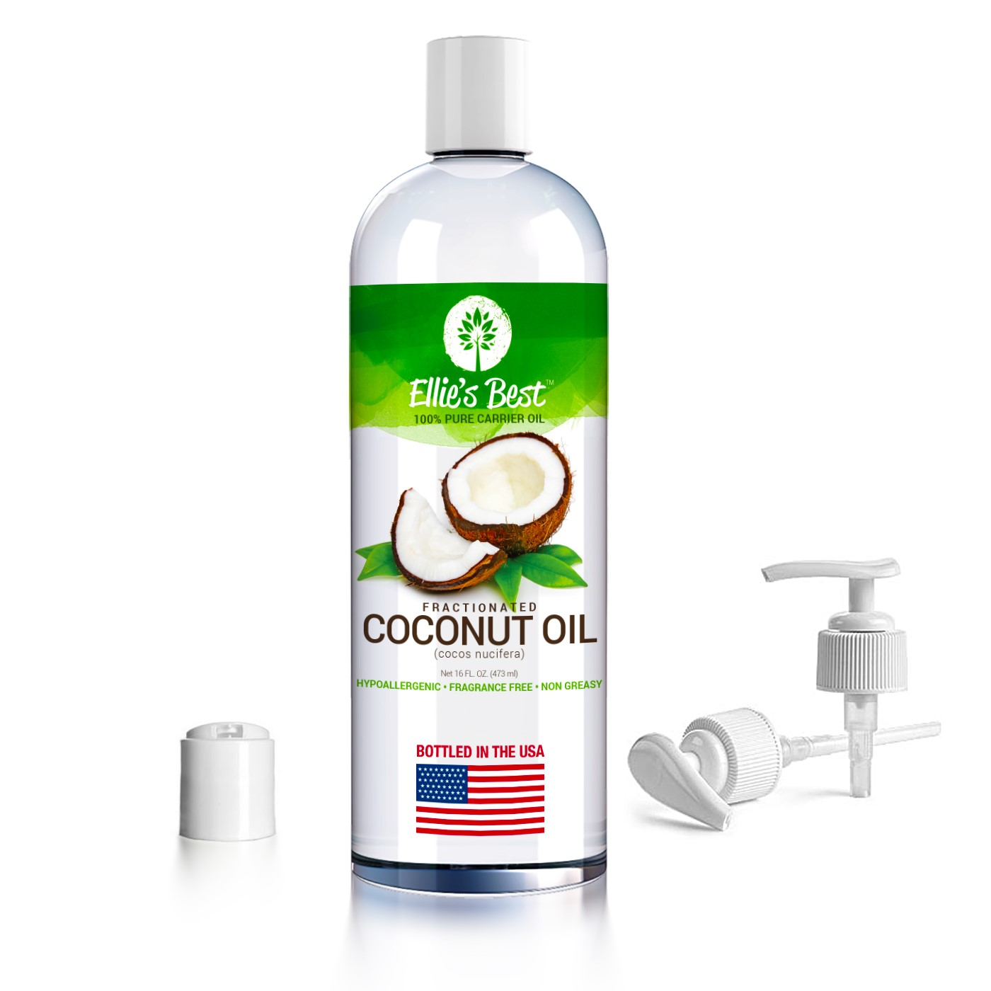 Fractionated Coconut Oil - Pure USA Expeller Cold Pressed & Hexane Free -  Best Therapeutic Grade Carrier Oil for Essential Oils Aromatherapy &  Massage