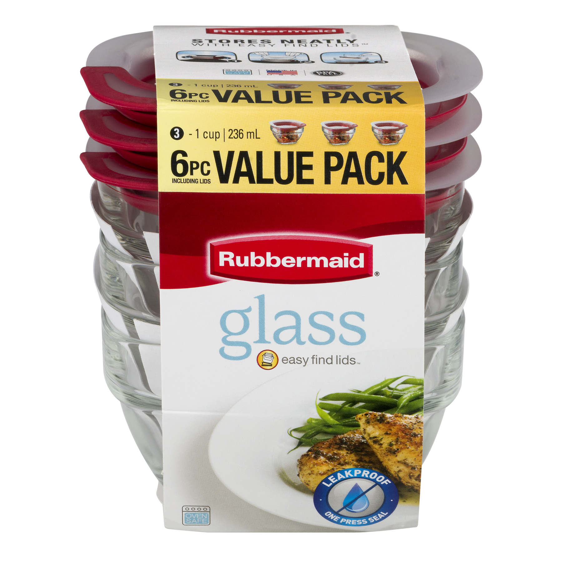 Rubbermaid Glass Containers With Easy Find Lids, 6.0 PIECE(S)