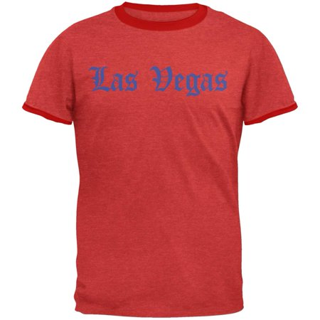 Cities Vintage Old English Las Vegas Heather Red-Red Men's Ringer T-Shirt