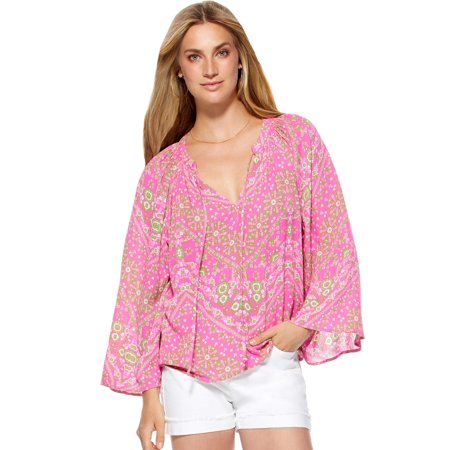 Scoop Women's Tie Front V-Neck Printed Peasant Blouse Top Print Peasant Blouse