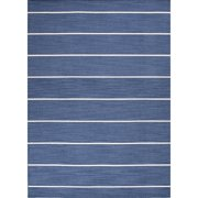 2.5' x 8' Sapphire Blue and White Striped Cape Cod Flat Weave Area Throw Rug