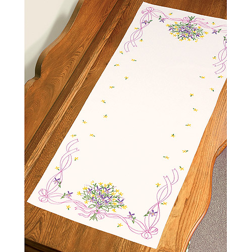 """Dimensions Violets Nosegay Dresser Scarf Stamped Embroidery, 14"""" x 39"""""""