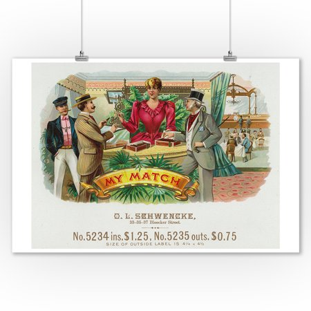 My Match Brand Cigar Box Label - Gambling (9x12 Art Print, Wall Decor Travel Poster)