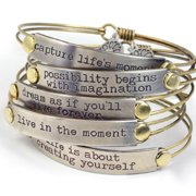 Sweet Romance  Inspirational Quote Motivational Message Bangle Bracelet