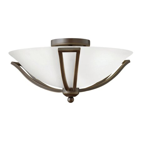 "Hinkley Lighting 4660-OPAL 2-Light 16.75"" Width Indoor Semi-Flush Ceiling Fixture with Opal Shade from the Bolla Collection"