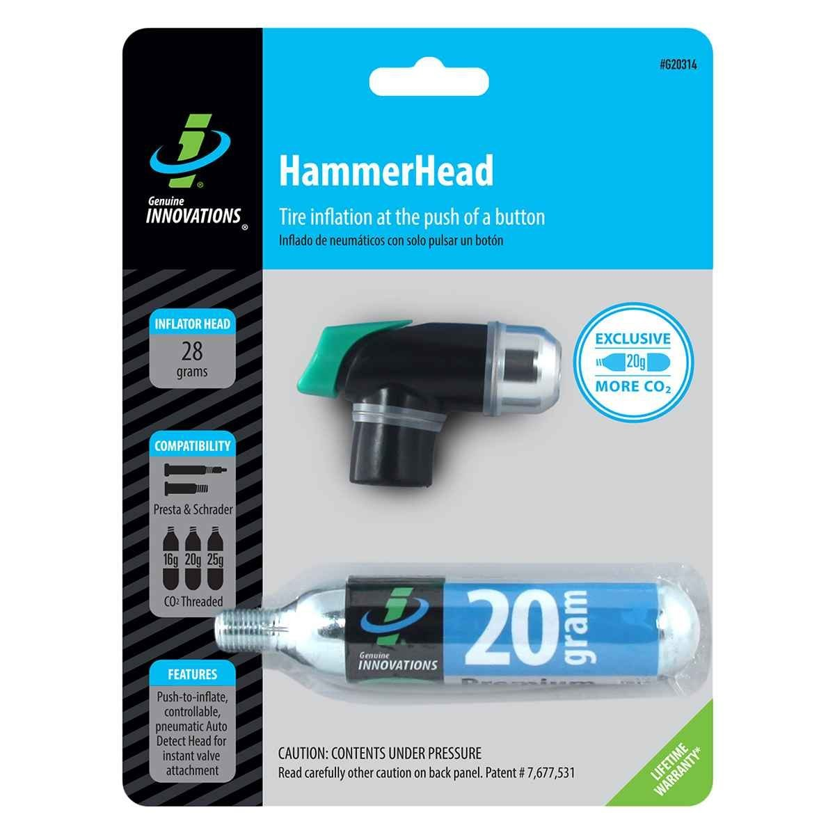 Hammerhead Pump Co2 Push Button Miniw/20g Cartridge, Includes (1) 20 gram threaded CO2 cartridge By Genuine Innovations