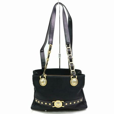 Gold Medusa Medallion Chain Tote 870366 Black Nylon Shoulder Bag (Versace Tote)
