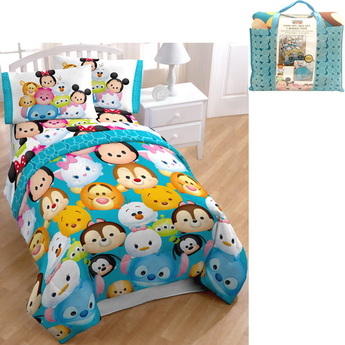 disney tsum tsum bed in a bag 5 piece twin bedding set with bonus tote - Twin Bed Sheets