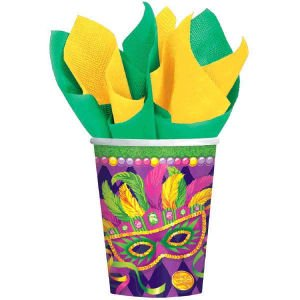 Mardi Gras Beads Party Masquerade Mask 9 oz Cups Hot cold 8 ct](Makeup For Mardi Gras)