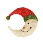 """17"""" Lighted Sparkling Tinsel Crescent Moon Hanging Christmas Outdoor Decoration"""