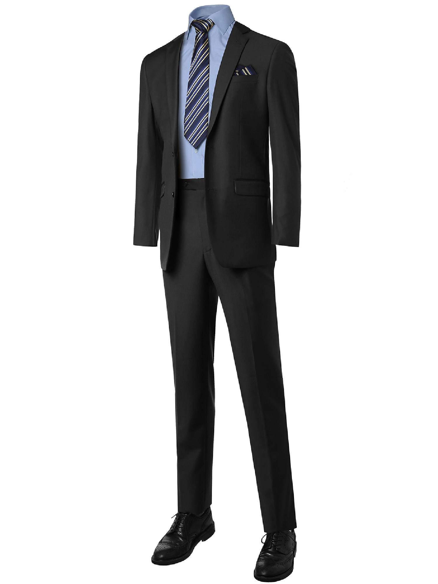 FashionOutfit Men's Contemporary Classic Regular Fit 2pcs Suit Blazer &Dress pants