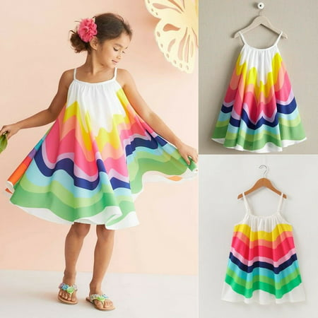 9217cb5fba42d Summer Baby Girl Kids Loose Strap Rainbow Dress Toddler Summer Tutu  Sundress Vestidos Beach Holiday Cute Outfit Clothes Dresses