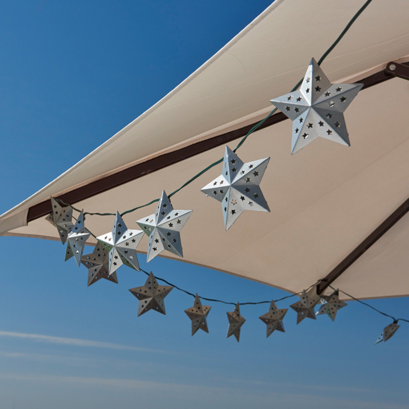 Solar String Light - Metal Star (Silver) - 20 ct.