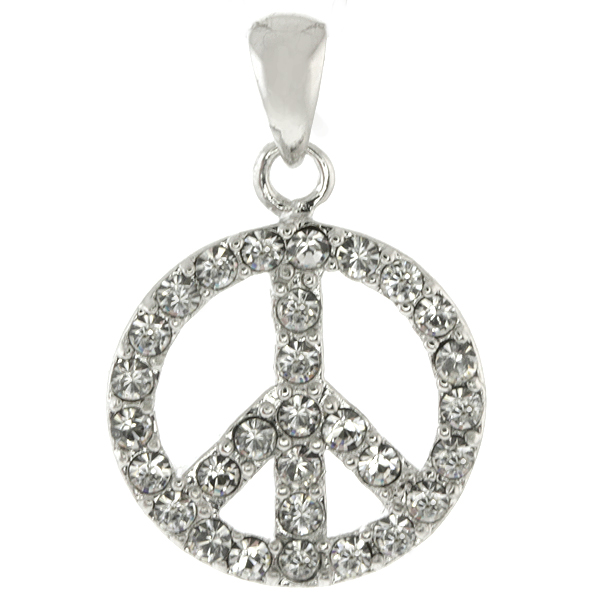 Beautiful Double Side Pink Peace Sign with Cubic Zirconia Charm Pendant