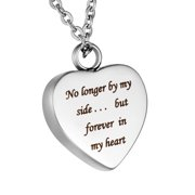 No longer by my side... but forever in my heart Cremation Jewelry Keepsake Ashes Necklace for Friend/Family/Pet